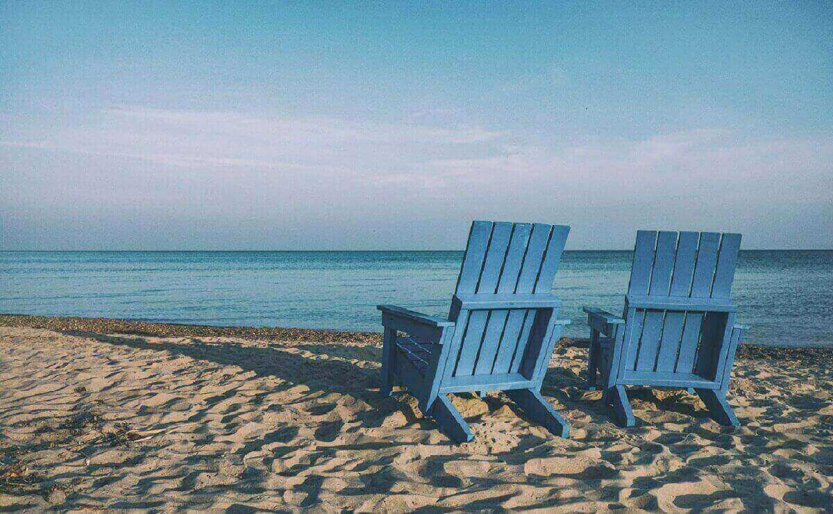resting in beach chairs